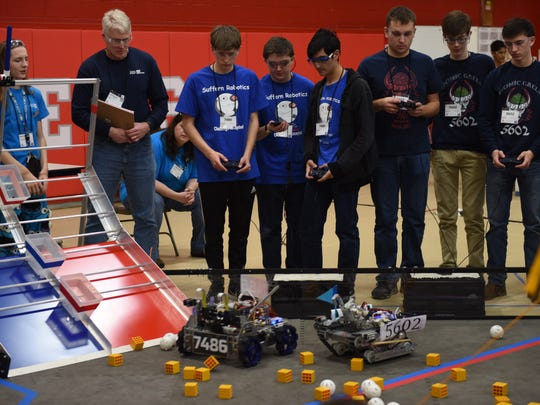 Sixteen robotics teams when head-to-head during the first Tech Challenge Central Hudson Valley Qualifying Tournament at Red Hook High School Sunday.