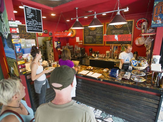 Patrons line up for tickets to an afternoon showing at The Lyric Cinema and Cafe Sunday, June 7, 2015. The theater opened its doors in 2007 to showcase independent and foreign films in a smaller setting than other theaters while serving beer, wine and food such as sandwiches and cheese plates.