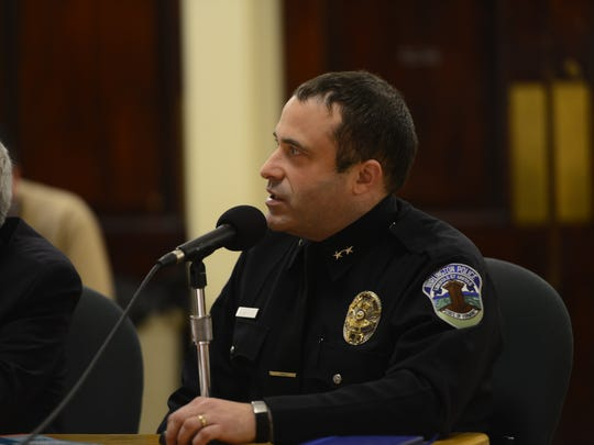 Burlington police Chief Brandon del Pozo addresses the City Council about drug trafficking and opiate use on Monday evening