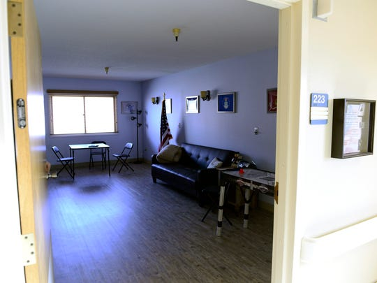 One of the rooms at Heritage Village of Clyde, in a wing for veterans and their families.
