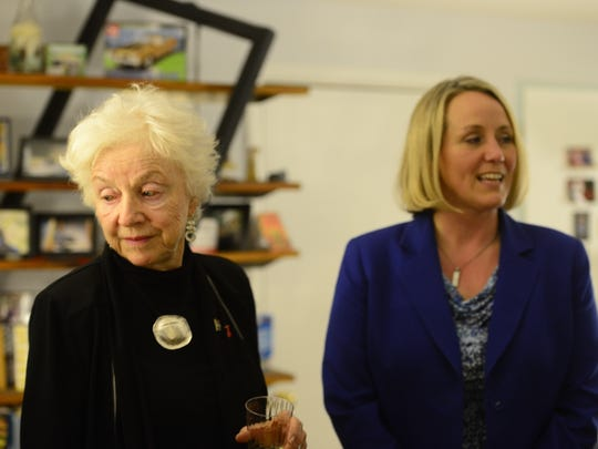 Former Vermont Gov. Madeleine Kunin, left, and EMILY's List President Stephanie Schriock attend a Hillary Clinton presidential campaign event at a Burlington home in February 2016.