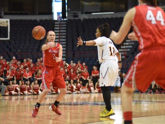 Marist's Eileen Van Horn passes the basketball in the