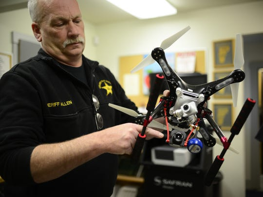 Sheriff Ray Allen shows the different cameras on the Grand Isle County Sherrif's Department drone on Thursday, April 28, 2016.