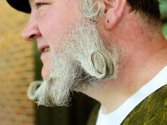 Brian Karn competes in the beard competition during the centennial celebration at the Hayes Presidential Center on Saturday.