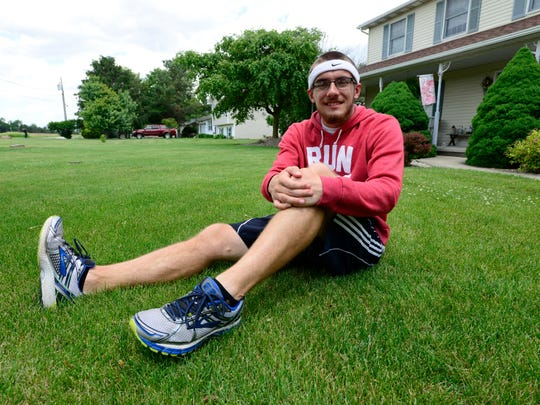 Tyler Aldrich, who is running from Fremont to Cincinnati, will begin his run Saturday at the Camelback race.