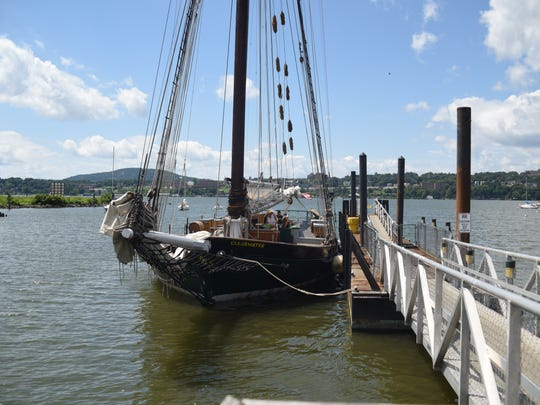 The Clearwater sloop was docked in Beacon Sunday.