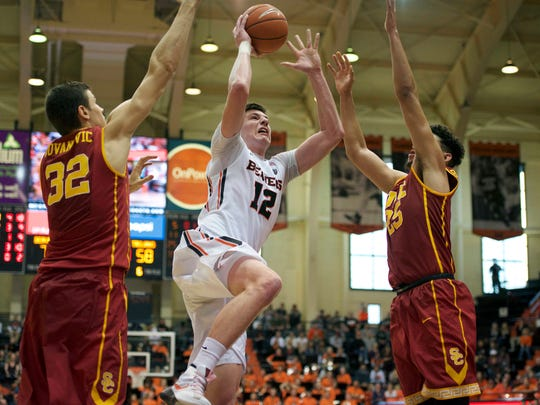 Oregon State sophomore forward Drew Eubanks is a co-captain this season along with Tres Tinkle.