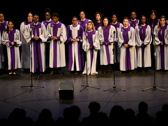Singers from Rosa L. Parks School of Fine and Performing Arts perform during a welcome home concert for Wé McDonald, from NBC's 'The Voice, at William Paterson University on Wednesday, Jan. 2, 2017.