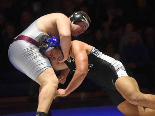 285 lbs Jacob Abill (Clifton) and John Iglesias (Passaic Tech Passaic Tech/Clifton wrestling match in the North 1, Group 5 state sectional semifinal