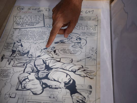 Snyder with comic art featuring the X-Men from 1963.