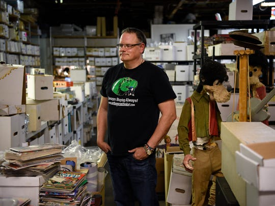 Anthony Snyder, owner of Anthony's Comic Book Art, stands in an inventory room at his store in Moonachie on Tuesday, Feb. 21, 2017.