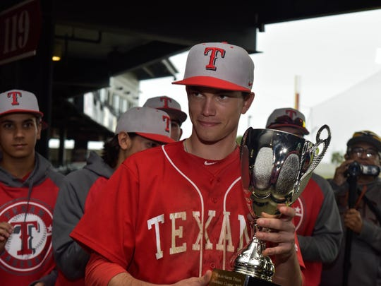 Ray's Nick Loftin holds the second place trophy on March, 04, 2017 at Whataburger Field.