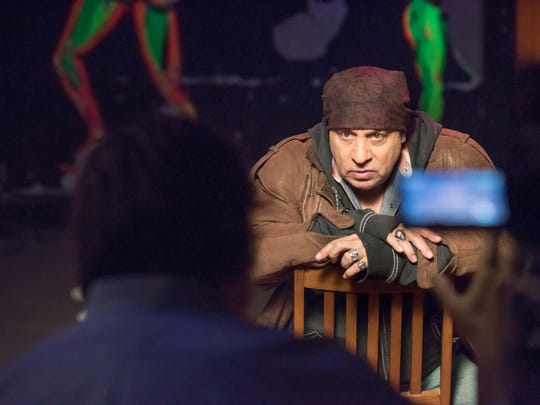 Stevie Van Zandt is filmed in The Upstage Club by The Halo Group multimedia company for a documentary they are working on .