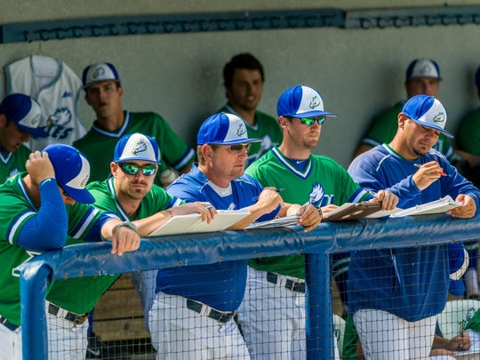 FGCU coach Dave Tollett (center, blue shirt) in the dugout during a game against Western Michigan in 2015.
