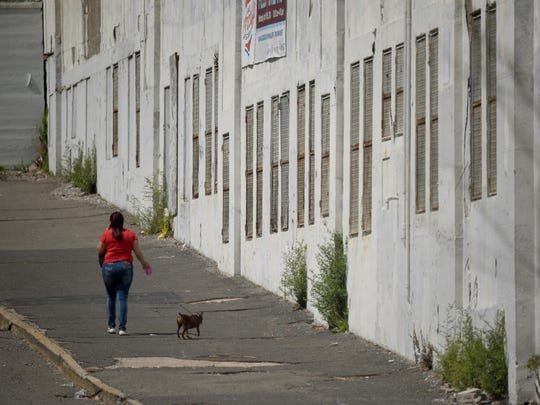 A woman walks her dog by Hinchliffe Stadium in Paterson