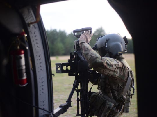 Soldiers from the 3rd Battalion, 501st Aviation Regiment, Combat Aviation Brigade, 1st Armored Division, support a live-fire exercise that took place Aug. 30, 2016 at Pabrade, Lithuania.