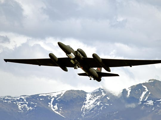 A U-2 Dragon Lady from Beale Air Force Base, Calif., departs the runway at Joint Base Elmendorf-Richardson, Alaska, May 3, 2017 during Exercise Northern Edge. Northern Edge is Alaska's largest and premier joint training exercise designed to practice operations, techniques and procedures as well as enhance interoperability among the services. Thousands of participants from all services, Airmen, Soldiers, Sailors, Marines and Coast Guard personnel from active duty, Reserve and National Guard units—are involved.