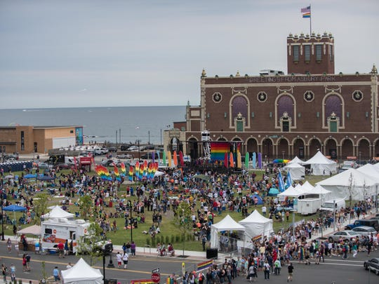 The crowd at the 26th annual Jersey Pride Celebration in Asbury Park's Bradley Park in June.