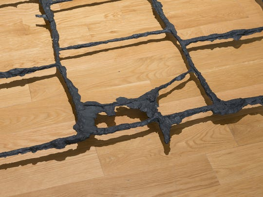 Cornelia Parker (British, born 1956) Jerusalem, 2015 (detail) Black patinated bronze cast of pavement cracks, East Jerusalem 3 x 55 x 262 inches