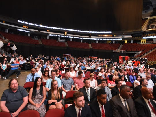 A crowd settles in for the NorthJersey.com Sports Awards, honoring student-athletes from the 2016-17 high school sports season, at Prudential Center, Newark, on Wednesday, June 14, 2017.