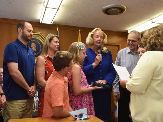 Councilwoman Kathleen Canestrino sworn in at the  reorganization Meeting of the City Council of the City of Hackensack.