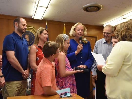 Councilwoman Kathleen Canestrino sworn in at the  reorganization
