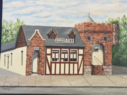 A painting of the Hagler Diner that hangs in the Columbia Bank in Oradell where the diner once stood.