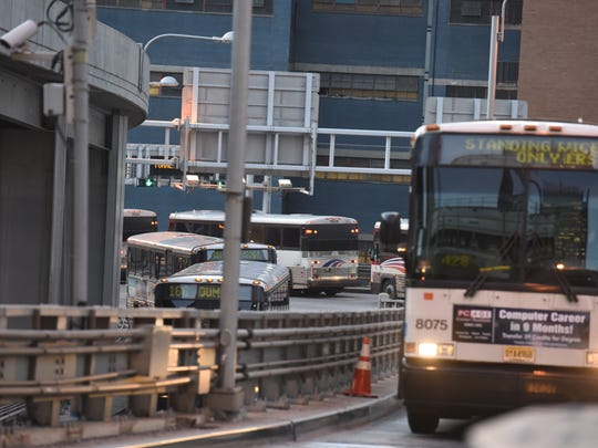 Port Authority and NJ Transit want to show off the changes they've made to reduce wait times and the number of late buses at the PABT since the disasters this summer.  Buses enter Port Authority to pick up afternoon passengers.   --  CHRIS PEDOTA / THE RECORD