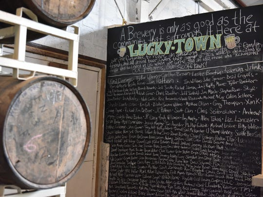 A tribute wall lists crowdfunding backers of Luckytown's successful Kickstarter startup campaign.