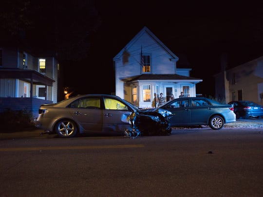Police say at least eight vehicles were struck in a chain reaction at about 10:30 p.m. Thursday, Aug. 31, 2017, on North Willard Street between Charles Street and North Street.