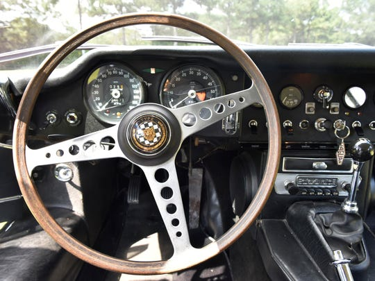 The interior of race car diver Jim Pace's 1967 Jaguar E Type. Pace raced in Russia in the '90s and communicated with his Russian mechanic - who spoke no English - by pointing to car parts and imitating a car's noises.