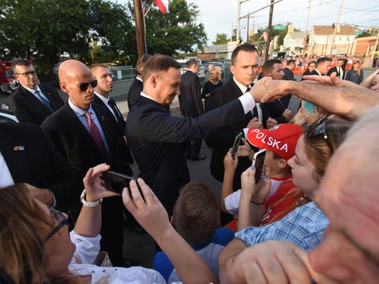 Residents greet President of the Republic of Poland,