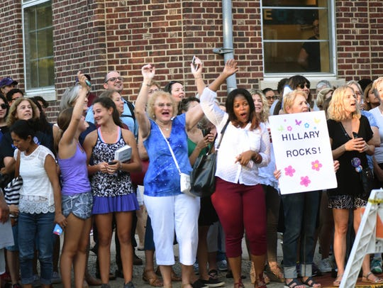 Fans line up to see Hillary Clinton at Watchung Booksellers