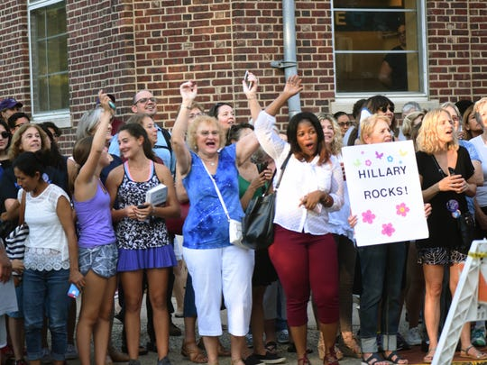 """Fans line up to see Hillary Clinton at Watchung Booksellers on Tuesday. She was in Montclair to sign copies of her new book, """"What Happened."""""""