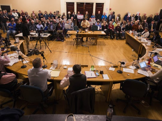 People pack Contois Auditorium Monday night, Oct. 16, 2017, for the Burlington City Council meeting, a majority of the public comments during the meeting supported keeping to local bidder to purchase Burlington Telecom.