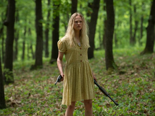 """Nicole Andrews stars in """"Leatherface."""""""