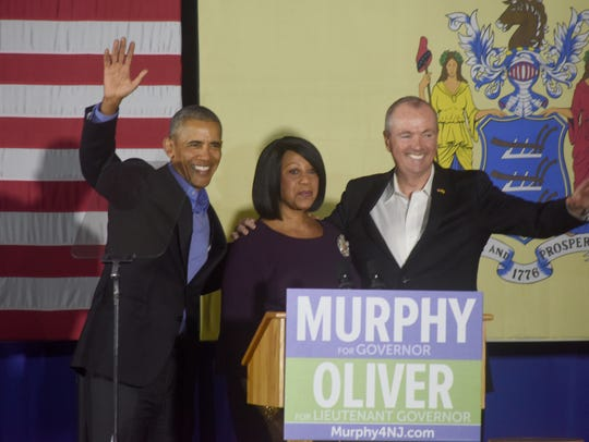 Former President Barack Obama campaigns for Phil Murphy, the Democratic nominee for governor, and running mate Assemblywoman Sheila Oliver in Newark recently.
