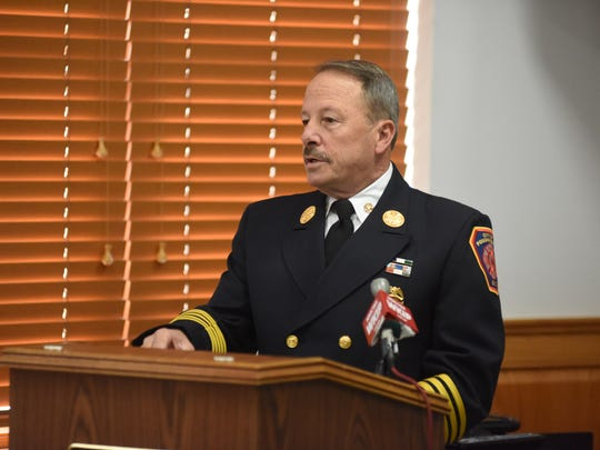 City of Poughkeepsie Fire Chief Mark Johnson presents awards at the Public Safety Building on Nov. 9, 2017.