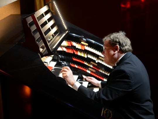 George Wesner at the organ at Radio City. Wesner is the organist at St. Mark's Church in Teaneck and is also the lead organist at Radio City Music Hall for the big Christmas spectacular.