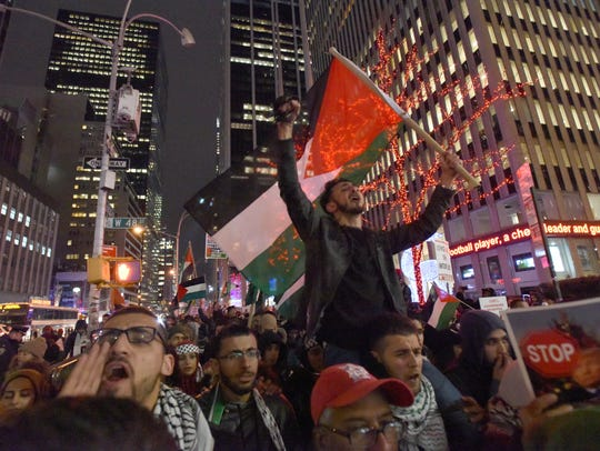 Palestinians protest in NYC  Trump's Jerusalem declaration.
