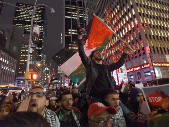 Palestinians protest in NYC  Trump's Jerusalem declaration.  Protest organized in cities across the U.S. and in many parts of the globe on Friday. NJ joining NYC .