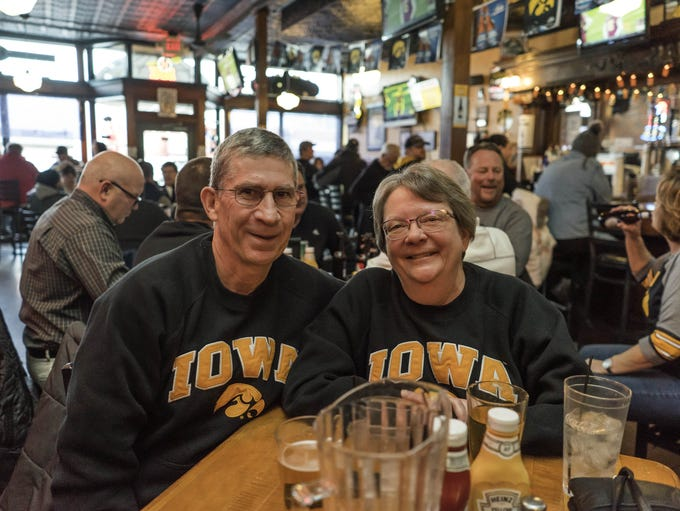 Gary Moden, 62, and Lynette Moden, 62, cheer on the