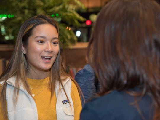 Victoria Vo of Tinton Falls, left, and Jenna Gaudio of Ocean Grove at the Jersey Shore Women in Technology networking session at High Voltage Cafe in Asbury Park. Jan. 17, 2018