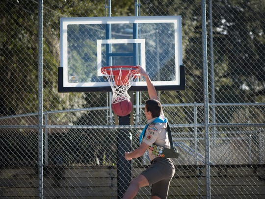 The pro-style basketball hoop at Winthrop Park was