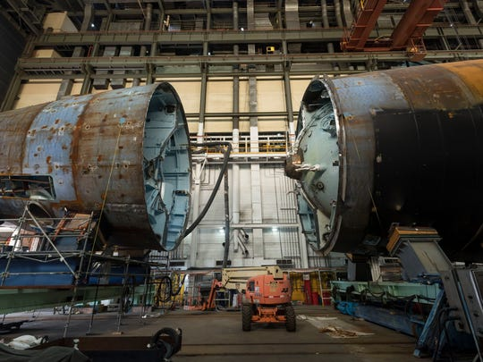 The USS Montana SSN794 is 40 percent complete. The submarine is being built as part of a teaming agreement between HII's Newport News Shipbuilding division and General Dynamics Electric Boat in Virginia.