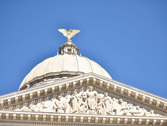 The frieze and dome of the state Capitol in Jackson. An 8-foot-tall eagle made of solid copper and gilded with gold leaf adorns the dome.