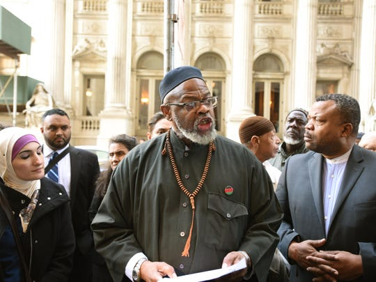 Samir Hashmi  against NYPD: Imam Al-Hajj Talid Abdur-Rashid and community leaders hold a press conference after oral arguments heard in court in the lawsuit by Samir Hashmi of Paramus against NYPD related to the department's spying program on New Jersey Muslims.