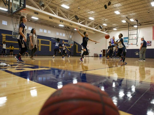 The Pearl High School girls' basketball team practices