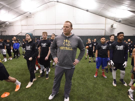 "Dan Sabella, Paramus Catholic football coach, at the ""Gamechangers"" Middle School football Camp at the Sports Domain Academy in Clifton on Saturday, March 17, 2018."