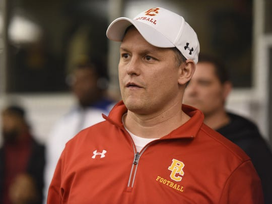 "Vito Campanile, Bergen Catholic football coach, taking in the action at the  ""Gamechangers"" Middle School football Camp at the Sports Domain Academy in Clifton on Saturday, March 17, 2018."